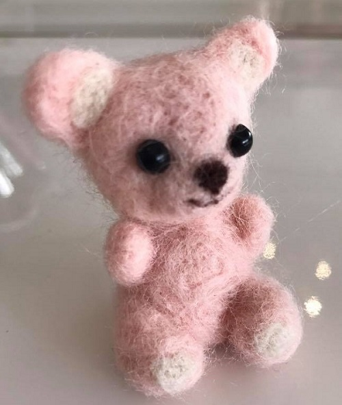 Needle felting pink bear - Lady Lair