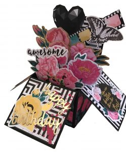 Pop Up Box Birthday Card Pink Black Awesome - Lady Lair