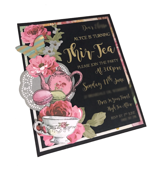 30th Tea Party Birthday Invitation - Lady Lair
